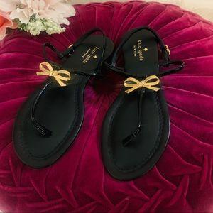 NWOT Kate Spade Gold Bow Black Slingback Sandals